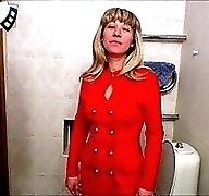 Fresh businesswoman with big rack pees all naked
