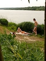 Fucky babe has fun in the crazy riverside threesome