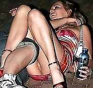 Drunk or not, she flashed upskirt. Upskirt downblouse