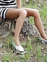 Girls are outdoor flashing upskirts